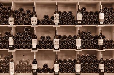 Wine Cellar Photograph - Wine Shelf Toned by Georgia Fowler