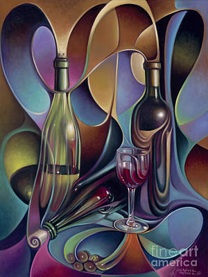 Wine-bottle Painting - Wine Spirits by Ricardo Chavez-Mendez