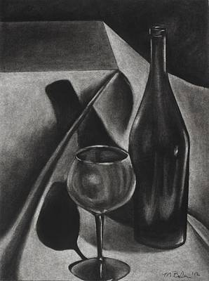 Glass Table Reflection Drawing - Wine Still Life by Michelle L Bolin