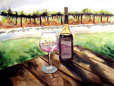 Wine Country Watercolor Painting - Wine Tasting by Candy Yu