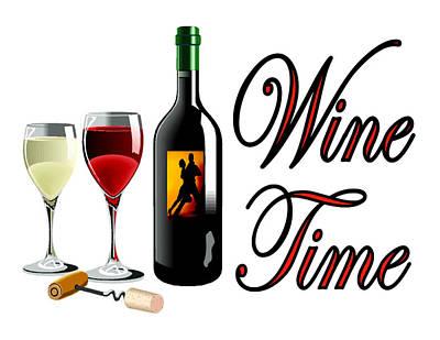 Napa Drawing - Wine Time by Bern Hopkins
