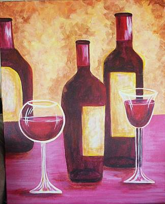 Glass Of Wine Painting - Wine Time by Brenda  Bell