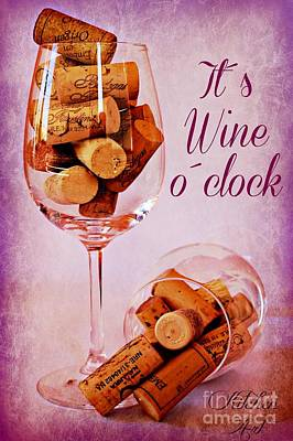 Vintage Wine Lovers Photograph - Wine Time by Clare Bevan