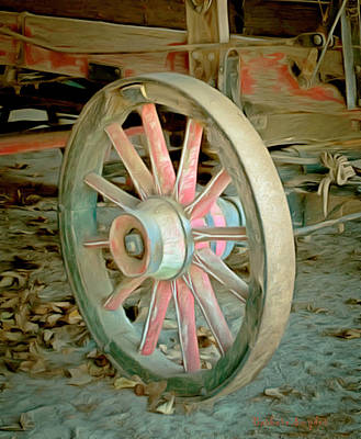 Winery Painting - Wine Wagon Wheel Digital by Barbara Snyder