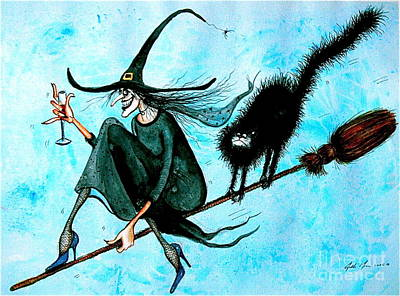 Wall Art - Painting - Wine Witch by Jakki Moore