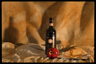 Photograph - Wine With An Apple And Cheese by Paulette B Wright