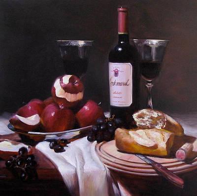 Wine With Peeled Apples Art Print by Takayuki Harada