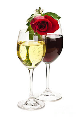 Still Life Royalty-Free and Rights-Managed Images - Wine with red rose by Elena Elisseeva