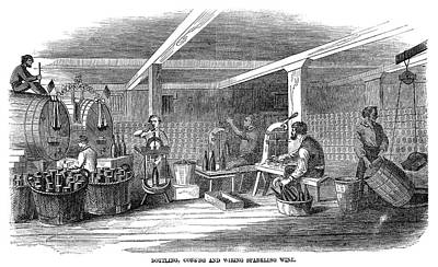 Winemaking Bottling, 1866 Print by Granger