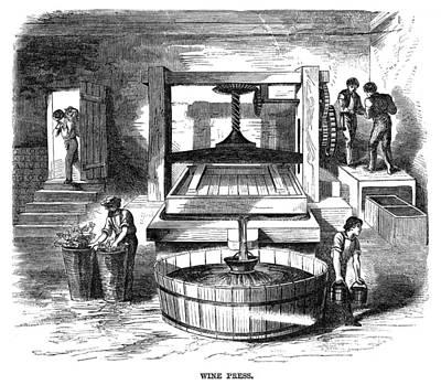 Winemaking Painting - Winemaking Press, 1866 by Granger