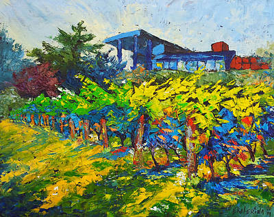 Winery Painting With Oils On Black Canvas Art Print