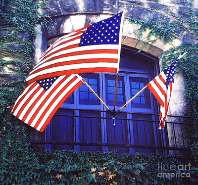 Chateau Montelena Painting - Winery Window Flags Of America by Gail Salitui