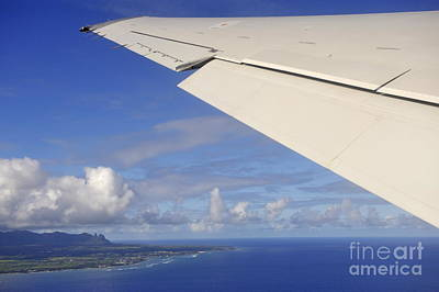 Wing Of Airplane Leaving Art Print by Sami Sarkis