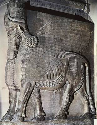 Round Rock Photograph - Winged Assyrian Bull. 721 Bc - 705 Bc by Everett