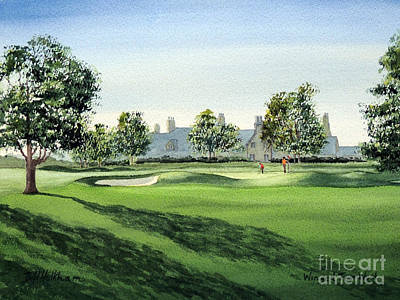 Golf Art Painting - Winged Foot West Golf Course 18th Hole by Bill Holkham