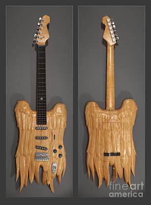 Guitar Angels Digital Art - Winged Guitar Design by Boschman Boschman