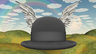Surrealism Digital Art - Winged Hat in surreal landscape by Bruce Rolff
