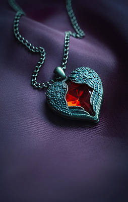 Photograph - Winged Heart With Red Gem by Jaroslaw Blaminsky