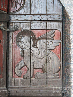 Greek Photograph - Winged Lion Of Saint Mark On Old Wooden Door In Crete Greece by Cimorene Photography