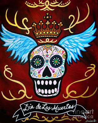 Print featuring the painting Winged Muertos by Pristine Cartera Turkus
