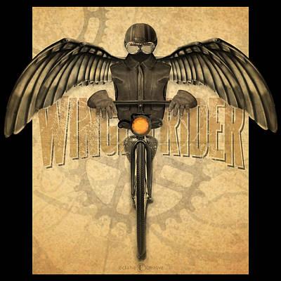 Digital Art - Winged Rider by Tim Nyberg