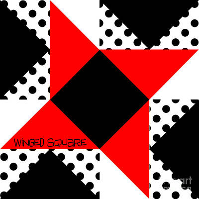 Block Quilts Digital Art - Winged Square by Methune Hively