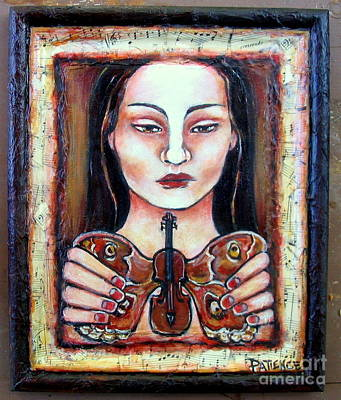 Painting - Winged Strings Mixed Media by Patience A