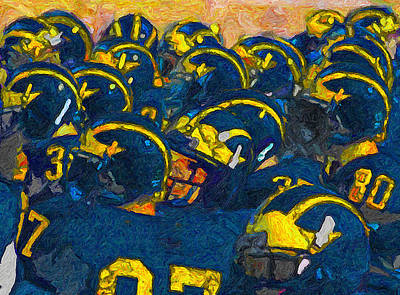 University Of Michigan Painting - Winged Warriors by John Farr