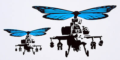 Helicopter Mixed Media - Wingin It - Blue by Sue Rowe