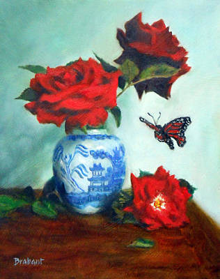 Floral Still Life Painting - Wings And Willow Ware by Jill Brabant
