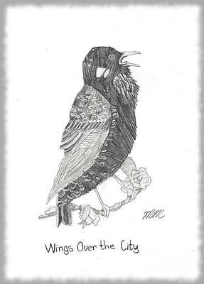 Starlings Drawing - Wings Over The City by Marissa McAlister