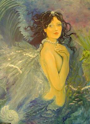 Angel Mermaids Ocean Painting - Wings by Victoria Maine