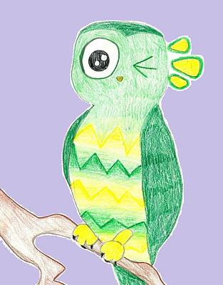 Drawing - Owl Winking  by Raquel Chaupiz