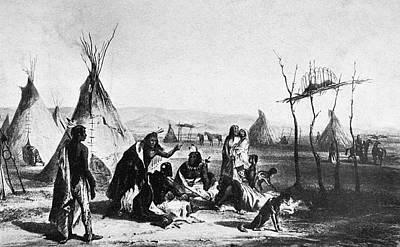 American Indian Children Painting - Winnebago Encampment by Granger