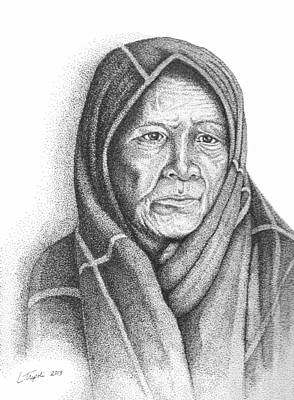 Drawing - Winnebago Woman by Lawrence Tripoli