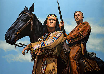 Apache Painting - Winnetou And Old Shatterhand by Paul Meijering