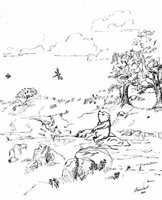 Pen And Ink Drawing Painting - Winnie The Pooh By The Creek   After E H Shepard by Maria Hunt