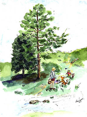 Teddy Bear Watercolor Painting - Winnie The Pooh With Christopher Robin After E H Shepard by Maria Hunt