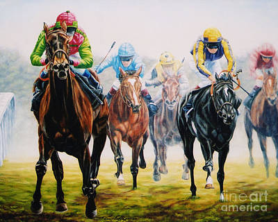 Winning As She Pleases At Ascot Art Print by Tom Chapman