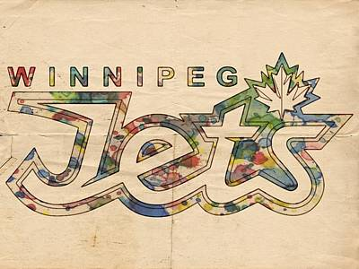 Painting - Winnipeg Jets Retro Poster by Florian Rodarte