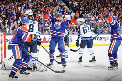 Scoring Photograph - Winnipeg Jets V Edmonton Oilers by Derek Leung