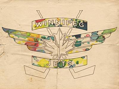Ice Hockey Painting - Winnipeg Jets Vintage Logo by Florian Rodarte
