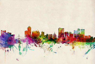 Winnipeg Digital Art - Winnipeg Skyline Canada by Michael Tompsett