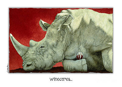 Red Wine Painting - Winoceros... by Will Bullas