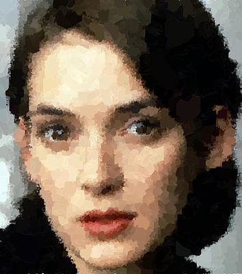 Painting - Winona Ryder Portrait by Samuel Majcen