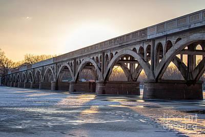 Winona Wagon Bridge At Sunset Art Print