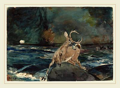 Adirondack Drawing - Winslow Homer, A Good Shot, Adirondacks, American by Litz Collection