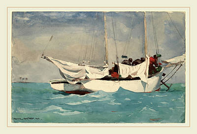 Key West Drawing - Winslow Homer, Key West, Hauling Anchor, American by Litz Collection