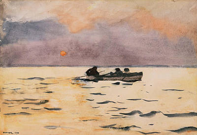 Wall Art - Painting - Winslow Homer Rowing Home by