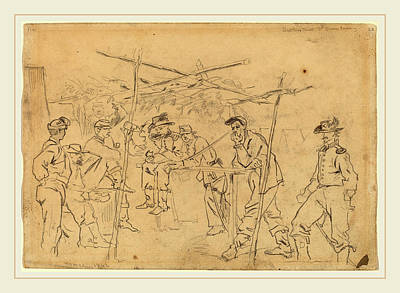 Pennsylvania Drawing - Winslow Homer, Sutlers Tent 3rd Pennsylvania Cavalry Recto by Litz Collection